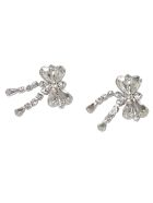 Alessandra Rich Crystal Bow Earrings - Cry Silver