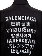 Balenciaga Silk Satin Shirt With Contrast Back Print - Black
