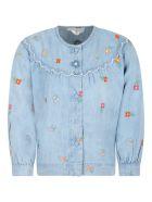 Stella McCartney Kids Light Blue Blouse For Girl With Flowers - Light Blue