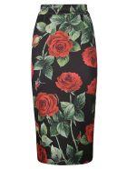 Dolce & Gabbana Rose Printed Skirt - Nero