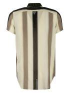 Rick Owens Short Sleeve Stripe Print Golf Shirt - White/Beige