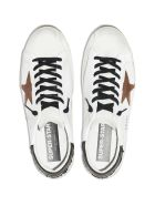 Golden Goose Man White Super-star Sneakers With Black Spoiler And Brown Suede Star