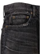 Saint Laurent Black Denim Fringed Bermuda Shorts - Black
