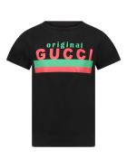 Gucci Black T-shirt For Kids With Logo - Black
