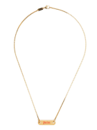 Palm Angels Man Golden Necklace With Logo Plate