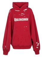 Balenciaga Oversize Distressed Logo Hoodie - Rosso