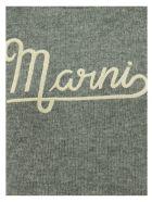 Marni Hazelnut Crewneck Sweater With Embroidered Logo - Grey