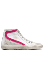 Golden Goose Woman White And Fuchsia Slide Sneakers