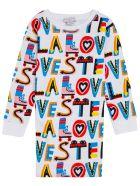 Stella McCartney Kids Cotton Dress With Multicolor Loves Print - White