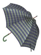 Eddy Monetti Check & Stripe Umbrella - Blue/Green