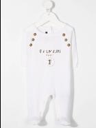 Balmain Newborn White Romper With Cap And Golden Logo