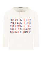 Bobo Choses Ivory T-shirt For Kids With Logos - Ivory