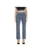 T by Alexander Wang High Rise Logo Jeans - Deep Blue White