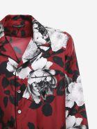 Dolce & Gabbana Camellia Print Silk Shirt - Red