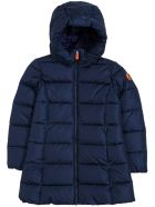 Save the Duck Ecological Blue Nylon Down Jacket With Logo - Blu