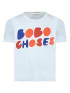 Bobo Choses Light-blue T-shirt For Kids With Logo - Light Blue