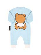 Moschino Light Blue Babygrow For Baby Boy With Teddy Bear - Light Blue
