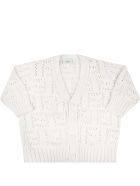 Fendi Ivory Cardigan For Babykids - Ivory