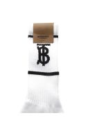 Burberry White And Black Blend Cotton Socks With Logo - White