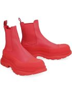Alexander McQueen Tread Slick Leather Ankle Boots - red