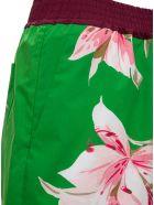 Valentino Multicolor Bermuda Shorts With Floral Print - Green