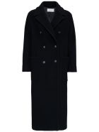 Antonelli Double-breasted Zeffiro Wool Blend  Coat - Black