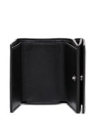 Balenciaga Essential Black Leather Wallet With Logo - Black