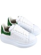 Alexander McQueen White Sneakers For Kids With Crocodile Effect - White