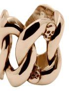 Alexander McQueen Skull Chain Ring - Gold