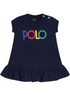 Ralph Lauren Blue Dress For Baby Girl With Logo - Blue