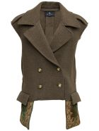 Etro Double-breasted  Green Wool Vest - Green