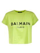 Balmain Cropped Length Logo Print T-shirt - Light Green