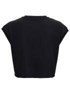 Dolce & Gabbana Black Cotton Cropt-shirt With Logo - Black
