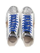 Golden Goose Silver Leather And Glitter Francy Sneakers - Argento