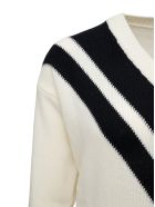 Mauro Grifoni Bicolor Wool V-neck Sweater - White