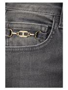 Elisabetta Franchi Jeans With Golden Horsebit Detail - Grey