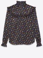 Saint Laurent Silk Blouse With Lamé Floral Print - NOIR MULTICOLOR