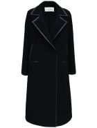 Valentino Black Wool Coat With Leather Details - Black