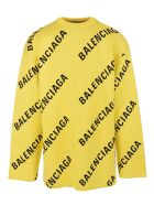 Balenciaga Unisex Yellow Allover Logo Crewneck Pullover - Yellow/black