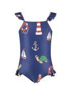 Mini Rodini Blue Swimsuit Foor Girl With Turtles - Blue