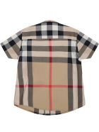 Burberry Beige Shirt For Baby Boy With Vintage Checks - Beige