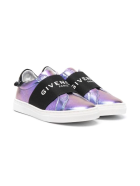 Givenchy Urban Street Kid Sneakers In Metallic Purple Leather With Band - UNI