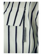 Brunello Cucinelli Cotton Regimental Stripe Poplin Shirt Dress With Belt - White/blue