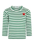 Comme des Garçons Play White And Green Striped T-shirt With Heart - Green
