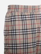 Burberry Technical Twill Shorts With Vintage Check Tartan Motif - Beige