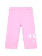 MSGM Pink Leggings For Babygirl Wih Logo - Pink