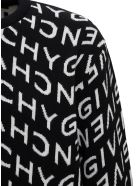 Givenchy Wool Sweater With Allover Refracted Logo Jacquard - Black
