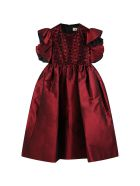 Elie Saab Red Dress For Girl With Logos - Bordeaux