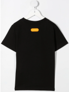GCDS Mini Orange Logo-printed T-shirt - Nero