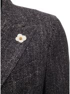 Lardini Double-breasted Grey Wool Blend Coat - Grey
